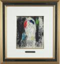 シャガール「灰色の恋人」1957年リトグラフ・額寸426×460mm