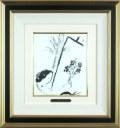 シャガール「花束を手に」1957年リトグラフ・額寸455×430mm