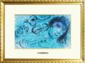 シャガール「フルートを吹く人」1957年リトグラフ・額寸587×434mm