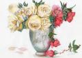 志村好子「薔薇(赤・クリーム)」水彩画(絵寸240×332・額寸347×423mm)