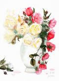 志村好子「薔薇」水彩(画寸240×332mm)