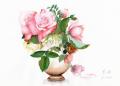 志村好子「薔薇(ピンク・クリーム)」水彩画(絵寸240×332・額寸347×423mm)