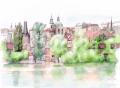 「PRAHA(プラハ)」ヨーロッパ風景画・水彩画(絵寸252×332・額寸377×454mm)志村好子