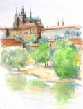ヨーロッパ風景画「PRAHA(プラハ)」志村好子・水彩画(絵寸252×332・額寸377×454mm)