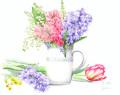 志村好子「」春の香り」(ヒヤシンス・スズラン)水彩画(画寸337×408mm)