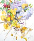 志村好子「野遊び(アケビ・木の実・アジサイ)」(水彩画)画寸378×454mm)