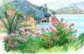 志村好子・ヨーロッパ風景画「PORTFINO(ポルトフィーノ)」水彩画(絵寸186×280:額寸377×454mm)