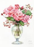 志村好子「薔薇」水彩画(絵寸250×330・額寸347×423mm)