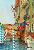 志村好子・「イタリア風景画「VENEZIA」油彩・SM・額寸410×341mm