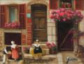 ヨーロッパ風景・志村好子「祭りの日」油彩・F0