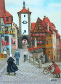 ヨーロッパ風景 ・ 志村好子 「」ローデンブルグ」 油彩 F4 :外寸435×535mm
