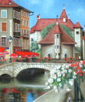 ヨーロッパ風景画 ・ 志村好子 「花の街アヌシー」 油彩 F3