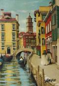 イタリア風景画・志村好子「VENEZIA」油彩SM・外寸410×341mm
