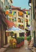 イタイア風景画・志村好子「旗のある街角」油彩SM・404×334mm