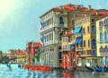 ヨーロッパ風景 ・ 志村好子 「VENEZIA」 油彩 F4 :外寸435×535mm