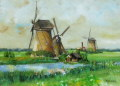 ヨーロッパ風景 ・ 志村好子 「風車」 油彩 F4 :外寸435×535mm