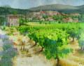 ヨーロッパ風景・志村好子 「プロバンスの葡萄畑 」 油彩 F50 :外寸945×1200mm