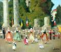 ヨーロッパ風景・志村好子 「アルルの祭り」 油彩 P10 :外寸675×750mm