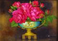 花の絵・志村好子「薔薇」(赤バラ)・油彩・F4・額寸426×516mm