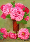 薔薇の絵・志村好子「薔笑」油彩・F4・額寸535×445mm