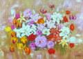 花の絵・ 志村好子 「花盛り」 油彩 P30 外寸950×1134mm