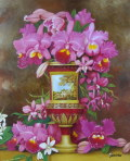花の絵・志村好子 「カトレア」 油彩 F12 外寸720×826mm
