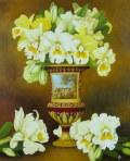 花の絵・志村好子 「絵のある壺」 油彩 F12 外寸720×826mm