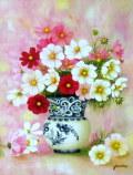 花の絵・志村好子 「壺にあるコスモス」 油彩 P10 外寸750×628mm