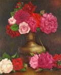 花の絵・志村好子「薔薇」(赤・ピンク・白) 油彩 F8 外寸675×600mm