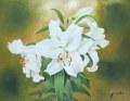 花の絵 ・志村好子「カサブランカ 」油彩 F6 外寸540×630mm