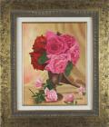 花の絵・志村好子「薔薇」(赤・ピンク) 油彩 F6 外寸630×540mm