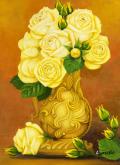 黄色い薔薇・絵・志村好子「薔薇(黄色のバラ)」F4・油彩・額寸435×535mm