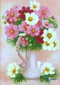 花の絵・志村好子 「花心」(ピンクのコスモス) 油彩 F4 外寸555×463mm
