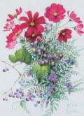 花・志村好子 「野の花」(濃いピンクのコスモス) 水彩4号 外寸500×411mm