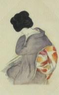 竹久夢二  「うしろすがた」  木版画  「露地のほそみち」  大正15年より  外寸・312×372mm