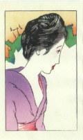 竹久夢二 「晩夏のひと」 木版画 「露地のほそみち」 大正15年より 外寸・370×440mm