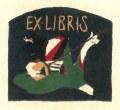 竹久夢二 「EX・LIBRIS」 木版画 「三味線草」 大正9年より 外寸・402×303mm