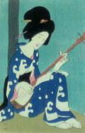 竹久夢二 「つまびき 」木版画 大正4年 「三味線草」より 外寸・330×400mm