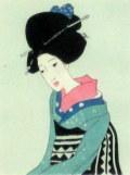 竹久夢二 「姐さん」 木版画 大正9年 「三味線草」より  外寸・330×400mm