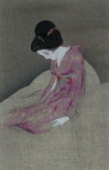 竹久夢二  「懊悩」  木版画 大正15年 「露地のほそみち」 より  外寸・300×360mm