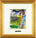 シャガール「時計台のキリスト」1957年リトグラフ額寸431×455mm