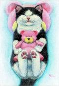"""海上ゆかり「おやすみなさい」アクリル画・サムホール・額寸360×291mm""""ぬいぐるみを抱く猫"""""""