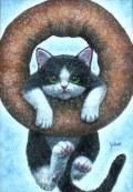 """海上ゆかり「ドーナッツ」アクリル画・サムホール・額寸373×300mm""""ドーナツと猫"""""""