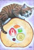 """海上ゆかり「ロールケーキ」アクリル画・サムホール・額寸375×307mm""""ロールケーキと子猫"""""""