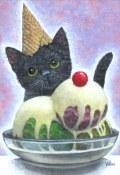 """海上ゆかり「アイスクリーム」アクリル画・サムホール・額寸360×291mm""""アイスクリームと猫"""""""
