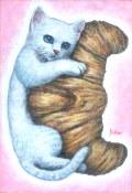 """海上ゆかり「クロワッサン」アクリル画・サムホール・額寸394×325mm""""クロワッサンと猫"""""""