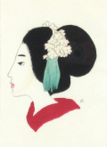 竹久夢二 「小唄の女」木版画・大正9年 「三味線草」より・額寸・290×350mm