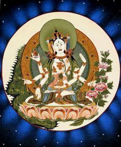 ナムジャルマ 仏頂尊勝母 S1【シルク布軸装】 天珠/曼荼羅/仏画 ...