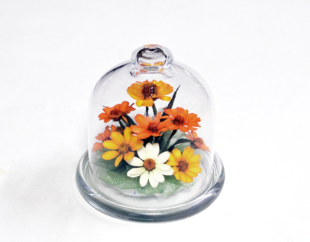 ボトルフラワー季節のお花「ジニア(百日草)」 誕生日や母の日プレゼント 贈り物ギフト に最適な    ボトルフラワー プチボトルドーム
