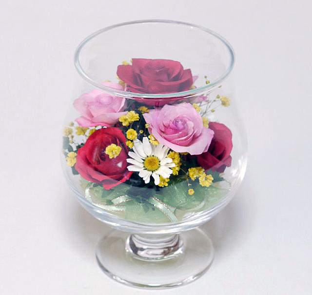 お祝いギフトボトルフラワー 誕生日のギフトに最適 バラ C-02 グラスS(バラ)